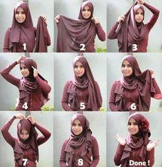 Hijab is the beauty of every girl ! Square Hijab Tutorial, Simple Hijab Tutorial, Pashmina Hijab Tutorial, Hijab Style Tutorial, How To Wear Hijab, Hijab Wear, Turban Hijab, Ways To Wear A Scarf, Stylish Hijab