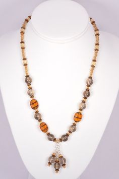 Smoky quartz glass bead necklace sterling by FiveLeavesFound, $42.00