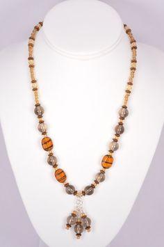 Smoky quartz glass bead necklace sterling by FiveLeavesFound, $42.00