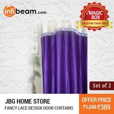 DEAL OF THE DAY !  JBG Home Store Set of 2 Fancy Lace Design Door Curtains at Lowest Rate from Infibeam's MagicBox !  #MagicBox #Deals #DealOfTheDay #Offer #Discount #LowestRates #JBGHomeStore #Fancy #LaceDesign #Door #Curtains #HomeDecor #HomeFurnishing