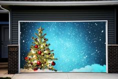 Full Color Christmas Tree Double Garage Door Cover Christmas