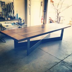 Modern Reclaimed Oak / Steel Table w/ Leaves - Porter Hardwoods