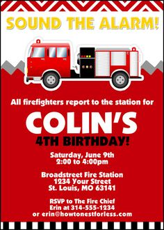 CoolNew Tips Easy to Create Fire Truck Birthday Invitations Designs