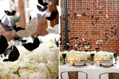 Floating butterflies above the tables in either wedding theme color or faded color schemes.