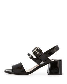 f2cc926dd8e Prada - Patent 55mm Chunky-Heel Sandal Shoe Sites
