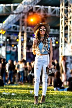 MAY 29TH, 2017 BY MARIA Festival Fashion Finds -  Outfit Details: Janessa Leone Hat // Urban Outfitters Crop Top // Similar White Jeans // Nordstrom Booties // Gucci Dionysus Bag // Baublebar Necklaces // Illesteva Sunglasses