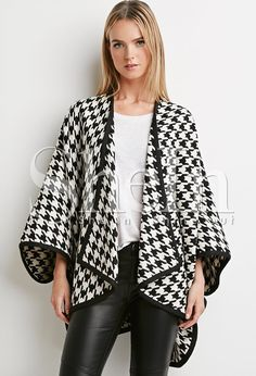 HDY Haoduoyi Loose Vintage Kimono Houndstooth Capes Asymmetrical Poncho Brief Keep Warm Streetwear Coat Coats For Women, Sweaters For Women, Clothes For Women, Forever 21, Mode Des Leggings, Trendy Fashion, Winter Fashion, Fashion Top, Fashion Women