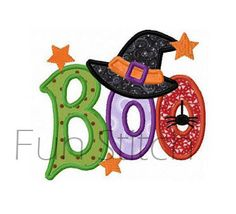 Halloween boo witch hat applique machine embroidery by FunStitch, $2.89