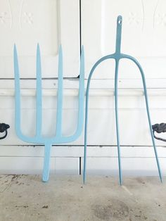Vintage Farm Pitch Forks a Blue Painted Pair by HogsAndHominy