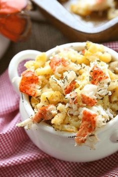 "Try this Lobster Mac and Cheese for a hearty main dish or have it alongside a big juicy steak for a new twist on ""Surf and Turf""! Lobster Mac and Cheese - Amy in the Kitchen"