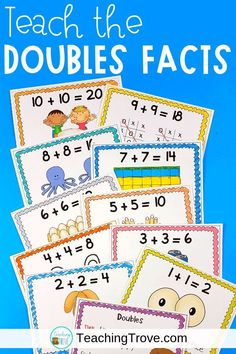 Doubles addition strategy games and activities are perfect for your first grade and second grade students. Teach the strategy with the anchor chart and use engaging worksheets and fun hands on games to provide practice.  #doubles #doublesfacts via @Teaching Trove