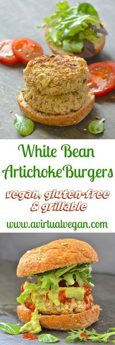 White Bean Artichoke Burgers – Vegan & Gluten Free – A Virtual Vegan Easy & incredibly tasty White Bean Artichoke Burgers with hints of lemon & rosemary. Perfect served with lots of gloriously green guacamole & a dribble of hot sauce! Best Vegan Recipes, Whole Food Recipes, Cooking Recipes, Favorite Recipes, Healthy Recipes, Free Recipes, Dinner Recipes, Cooking Tools, Healthy Eats