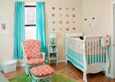 Tangerine, Teal and white neutral colors unisex nursery