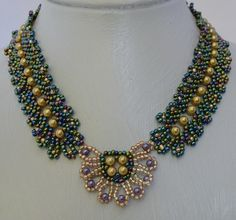 Precious Gold Necklace Pattern at Sova-Enterprises.com lots of free beading patterns and tutorials are available!