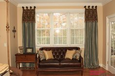 Scalloped top panels with attached valance by Fabric Creations Tab Top Curtains, Scallop Top, Drapery Panels, Valance, Fabric, Home Decor, Tejido, Tela, Decoration Home