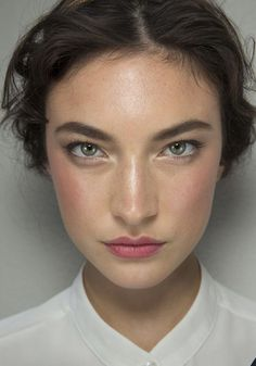 Gorgeous! Accent eyes by lining them with a light gold - try W3LL People Elitist Eyeshadow powder in Gold Twinkle. Dab Kjaer Weis Lip tint in Passionate on lips and blend a bit on cheeks