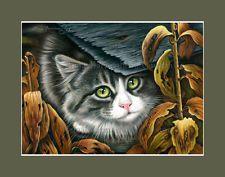 Tabby Cat Print Peeking Kitten by Irina Garmashova