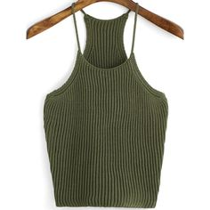 SheIn(sheinside) Army Green Spaghetti Strap Knit Cami Top (45 RON) ❤ liked on Polyvore featuring tops, green, stretch tank top, spaghetti strap cami, cami top, green camisole and knit tank