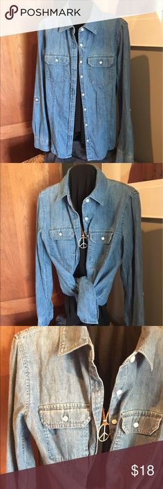 """Talbots's denim long sleeve shirt. Med wash color.  excellent condition fabric 💯% cotton. Great for layering over tee this time of weather. Measurements across bust 18"""" length 25"""" from shoulder to bottom of hem. Talbots Tops Button Down Shirts"""