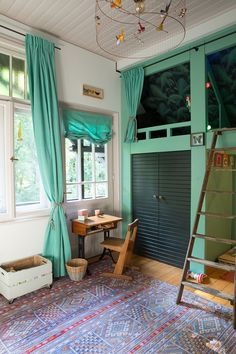 Das Tropische Kinderzimmer. Oder alles ist grün. Palmentapete, Hochbett, Farrow&Ball Arsenic, Bunkbed, Children's Room www.Waldfriedenstate.com