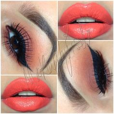 reddish, coppery brown in the lid, blended with warm orange, black winged liner, coral lips | warm-toned #summer #makeup