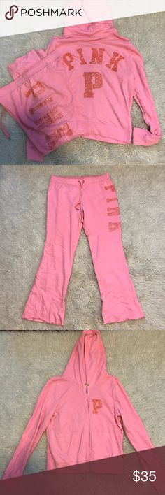 Victoria's Secret Pink Bling Sweat Suit Preloved but still has life left in them! Has some pilling on arms & inner pant areas - missing hood drawstring  All sequins in tact  Both size large PINK Victoria's Secret Tops Sweatshirts & Hoodies