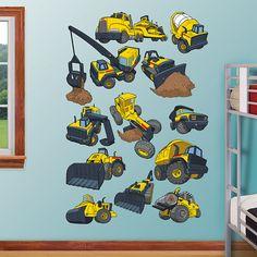 Tonka Construction Truck Collection REAL.BIG. Fathead – Peel & Stick Wall Graphic | Tonka Truck Wall Decal | Kids Decor | Bedroom/Playroom/Nursery
