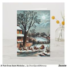 A Visit from Saint Nicholas vintage Christmas Holiday Card