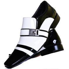 e7d32b07b5 Kit Sapato Social Verniz Com Relógio Gofer 10057L Preto Branco