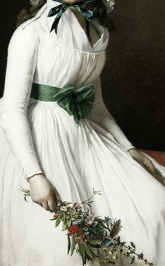 art in details.      Portrait of Madame Emilie Seriziat and her Son      by Jacques-Louis David, 1795, detail.