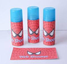 Spider-man Web Shooter Label Spiderman Label by JessicaJCreates Avengers Birthday, Superhero Birthday Party, 6th Birthday Parties, Third Birthday, Superhero Superhero, Super Hero Birthday, Batman Party, Spiderman Birthday Ideas, Superhero Party Favors
