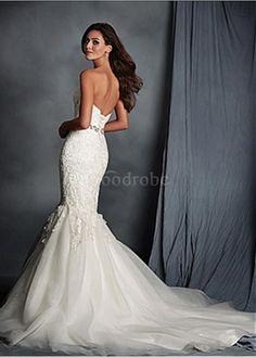 Robe de mariée décoration dentelle de col en cœur organza luxe sirène - photo 1