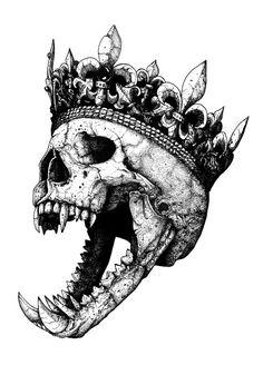 Original drawing Ink on paper. Bonus gift: a postcard set of Ancient Kings, offered Dark Art Drawings, Art Drawings Sketches, Tattoo Sketches, Cool Skull Drawings, Dark Art Tattoo, Tatoo Art, Design Tattoo, Tattoo Design Drawings, Skull Tattoos