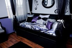 purple black teen girl room