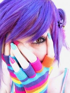 Rainbow Gloves purple hair