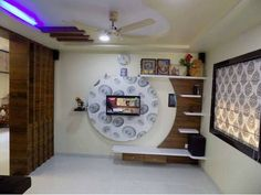 unit Partition LCD Wall units - Ashtyn Wilderman I - Indian Living Rooms Lcd Unit Design, Lcd Panel Design, Bed Frame Design, Tv Wall Design, Tv Unit Furniture Design, Bed Furniture, Tv Unit Decor, Tv Cabinet Design, Tv Stand Designs