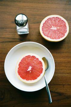 Pink grapefruit with salt