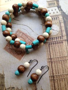 Turquoise and Wood Beaded Bracelet and Earring Set.  on Etsy, $25.00