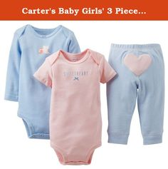"Carter's Baby Girls' 3 Piece ""Take me Away"" Set (Baby) - Sweetheart - Blue - 6 Months. Carter's 3 Piece ""Take me Away"" Set (Baby) - Sweetheart Carter's is the leading brand of children's clothing, gifts and accessories in America, selling more than 10 products for every child born in the U.S. Our designs are based on a heritage of quality and innovation that has earned us the trust of generations of families."