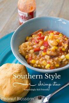 Southern Style Shrimp Stew with spicy andouille sausage. Hearty but healthy crockpot dish for busy nights. Serve with a simple pan of biscuits for a family friendly dish.