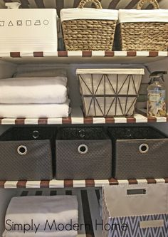 No more teetering stacks of towel sand sheets! Tips for Organizing the Linen Closet/ Simply Modern Home
