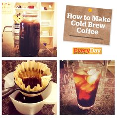 Save time and money and brew your own Cold Brew Iced Coffee at home. With cold brew, the coffee bean's fruity, nutty and chocolate notes are more pronounced and create a sweetened effect so you don't have to add as much or any sugar or milk Iced Coffee At Home, Coffee Love, Coffee Drinks, Easy Coffee, Coffee Coffee, Diy Cold Brew Coffee, Cold Brew Coffee Recipe, Non Alcoholic Drinks, Fun Drinks