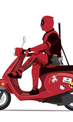 Marvel, Deadpool on scooter, minimal, superhero, funny, art, 480x800 wallpaper