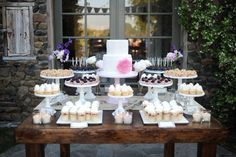 Mix and match different sized cake stands to get different heights!