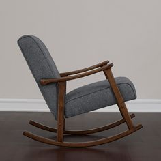 Granite Grey Fabric Mid Century Wooden Rocking Chair