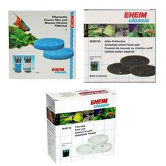 EHEIM 2217 Canister Filter Pad Set , 3 Carbon Pads, 2 Blue Pads, 3 White Pads
