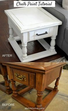 I recently transformed two side tables with chalk paint. After getting tons of questions, I decided to make a DIY chalk paint furniture tutorial! Diy Furniture Table, Chalk Paint Furniture, Furniture Makeover, Furniture Ideas, Chalk Paint Table, Diy Furniture Tutorials, Furniture Buyers, Coaster Furniture, Furniture Styles