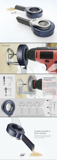 The Sawdust Sucker | The average person doesn't keep a shop-vac handy, so it's likely that you know just how irritating it can be to have dust and debris flying all over the place (especially in your eyes) when you're using a drill! This ingenious device called the Motorless Vacuum uses the drills own rotational power to move the internal fan and create suction which draws dust into the reservoir. After you're finished drilling, just remove the peripheral and dump the sawdust!