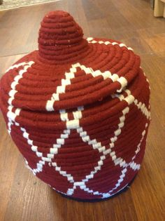 Moroccan Handwoven Bread Basket with Lid Blue