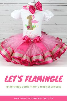 Pink Flamingo Birthday Party Outfit - Pink and Gold Personalized Ribbon Trim Tutu - Birthday Cake Smash Tulle Skirt For Girl - Any Age 1st Birthday Cake Smash, Baby Girl 1st Birthday, Flamingo Birthday, Mermaid Birthday, Summer Party Themes, Let's Flamingle, Birthday Party Outfits, Tutu Outfits, How To Make Ribbon